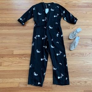 ZARA Black Embroidered Jumpsuit Coverall